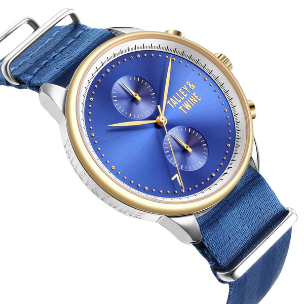 [46mm] Silver, Gold & Blue Worley Chronograph - Royal Blue Canvas