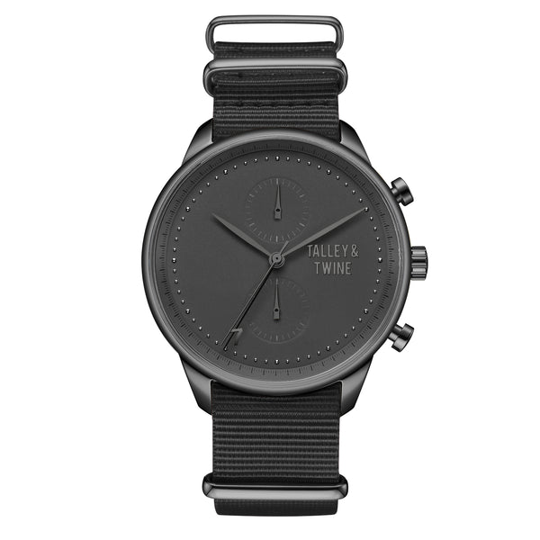 **PRE-ORDER! SHIPPING BY OCTOBER 15TH!** 41mm Women's Worley Chronograph Black w/ Black Canvas Band