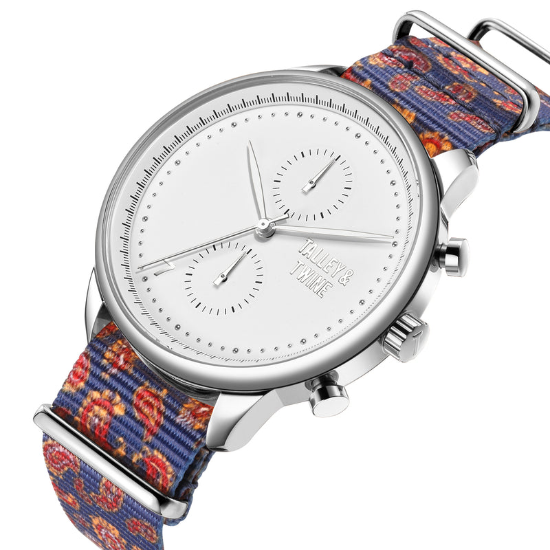 **PRE-ORDER! SHIPPING BY OCTOBER 15TH!** 41mm Worley Chronograph Silver & White w/ Paisley Canvas Band