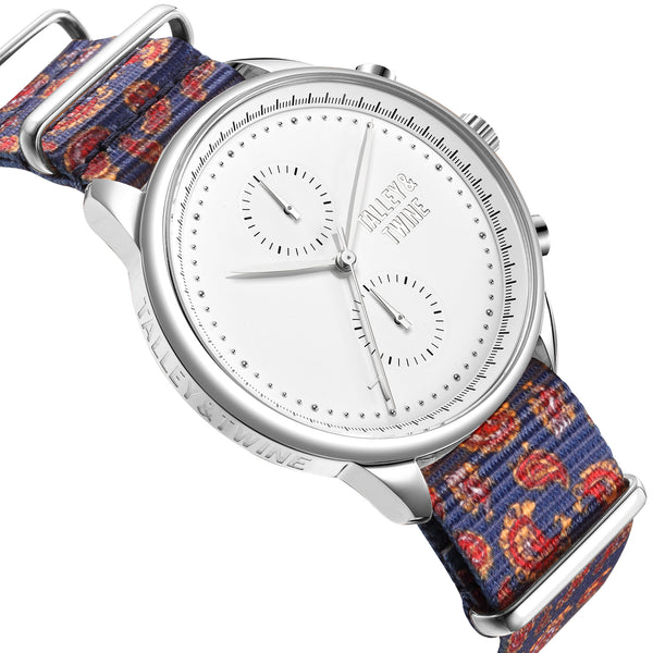 **PRE-ORDER! SHIPPING BY OCTOBER 15th!** 46mm Worley Chronograph Silver & White w/ Paisley Canvas Band