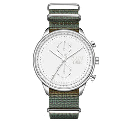 [46mm] Silver & White Worley Chronograph M - Green Canvas