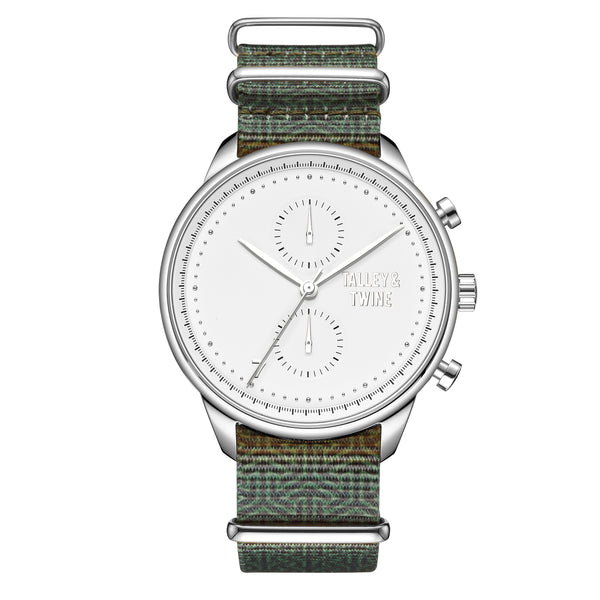 [46mm] Silver & White Worley Chronograph - Green Canvas