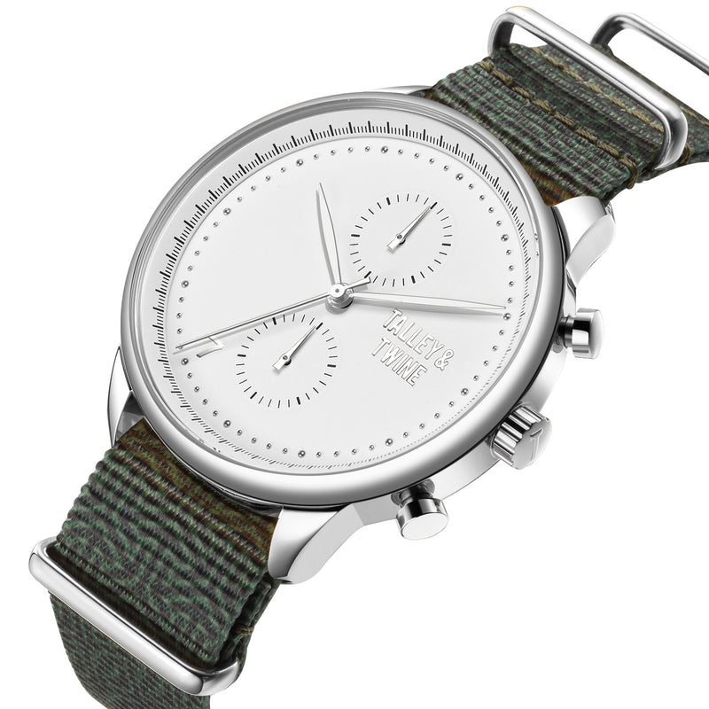 46mm Men's Worley Chronograph Silver & White w/ Green Canvas Band