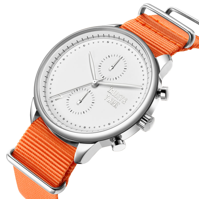 [46mm] Silver & White Worley Chronograph - Orange Canvas