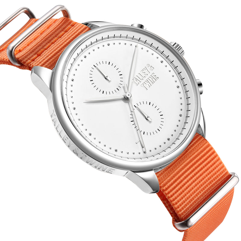 [46mm] Silver & White Worley Chronograph M - Orange Canvas