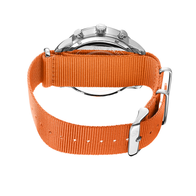46mm Men's Worley Chronograph Silver & White w/ Orange Canvas Band