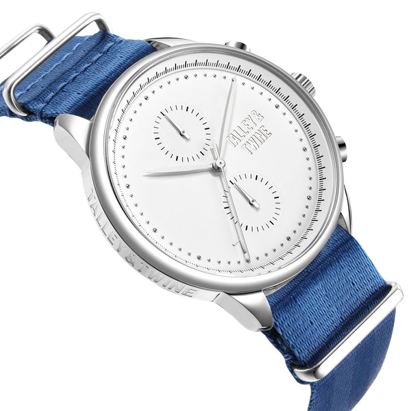 [46mm] Silver & White Worley Chronograph M - Royal Blue Canvas