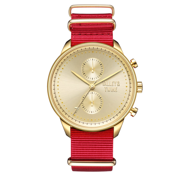 **PRE-ORDER & SAVE! SHIPPING BY OCTOBER 15TH!** 46mm Men's Worley Chronograph Gold w/ Red Canvas Band