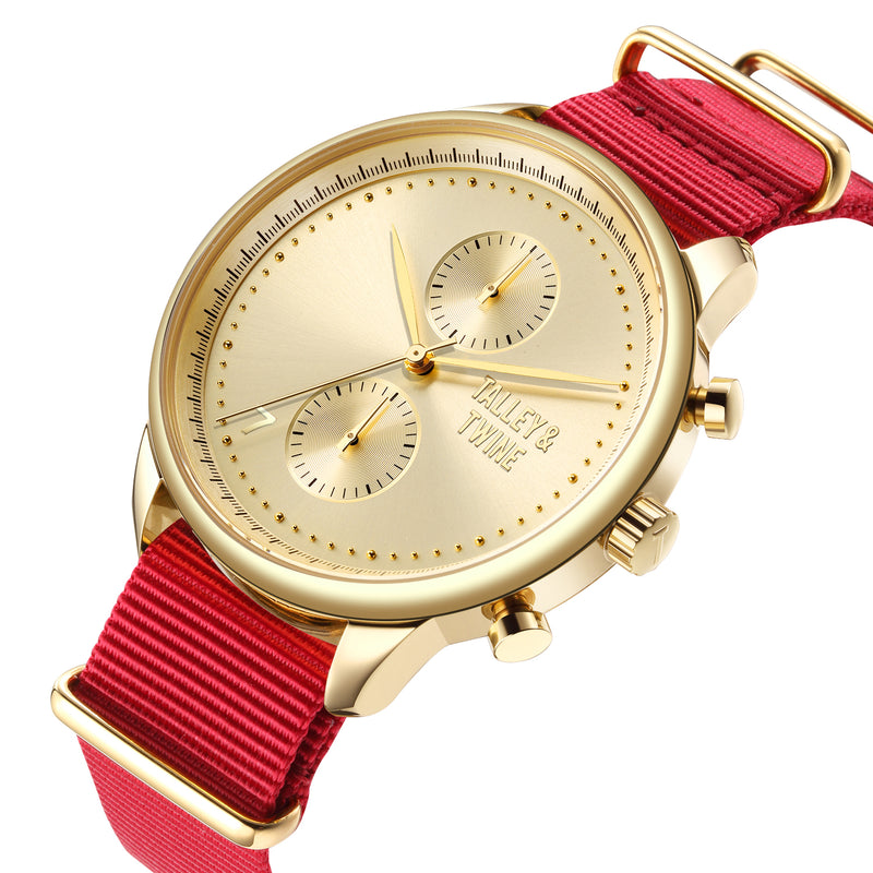 [46mm] Gold Worley Chronograph M - Red Canvas with Gold Accents