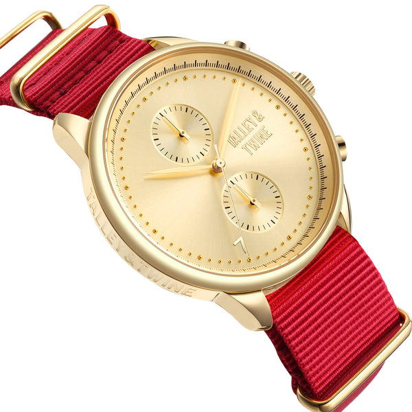 **PRE-ORDER! SHIPPING BY OCTOBER 15TH!** 46mm Men's Worley Chronograph Gold w/ Red Canvas Band