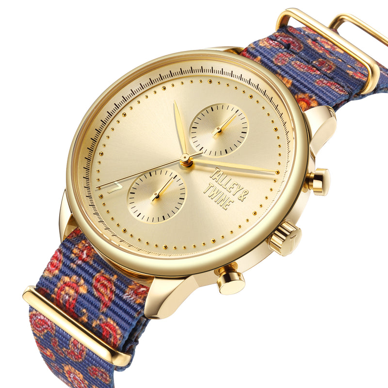 **PRE-ORDER! SHIPPING BY OCTOBER 15TH!** 41mm Women's Worley Chronograph Gold w/ Paisley Canvas Band