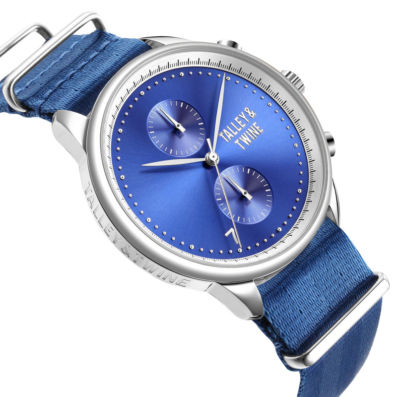 [46mm] Silver & Blue Worley Chronograph - Royal Blue Canvas