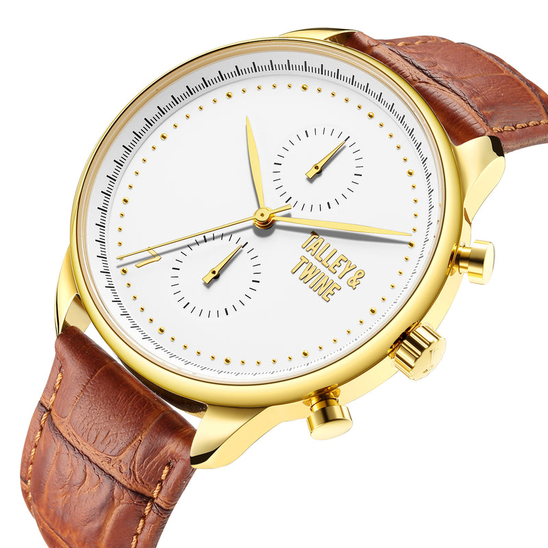 46mm Men's Worley Chronograph Champagne & Gold w/Tan Leather Band