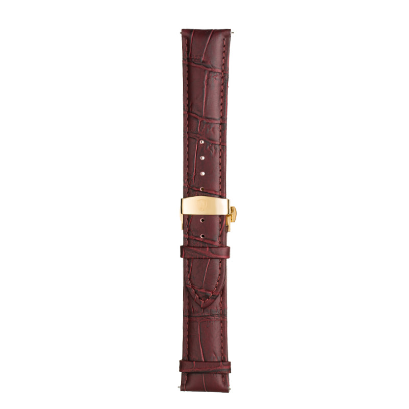 Men's Oxblood Calfskin Leather Watch Band w/ Gold Accents