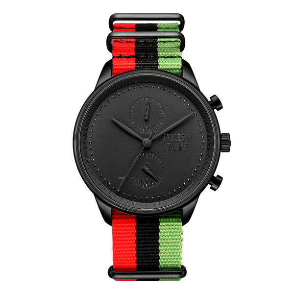 "**PRE-ORDER & SAVE! SHIPS BY OCTOBER 29TH** [Women's 41mm] Worley Chronograph M - ""Juneteenth"" Canvas - Red Black Green"
