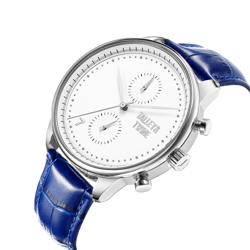 [46mm] Silver & White Worley Chronograph - Blue Leather