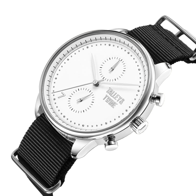 Silver & White Worley Chronograph M - Black Canvas