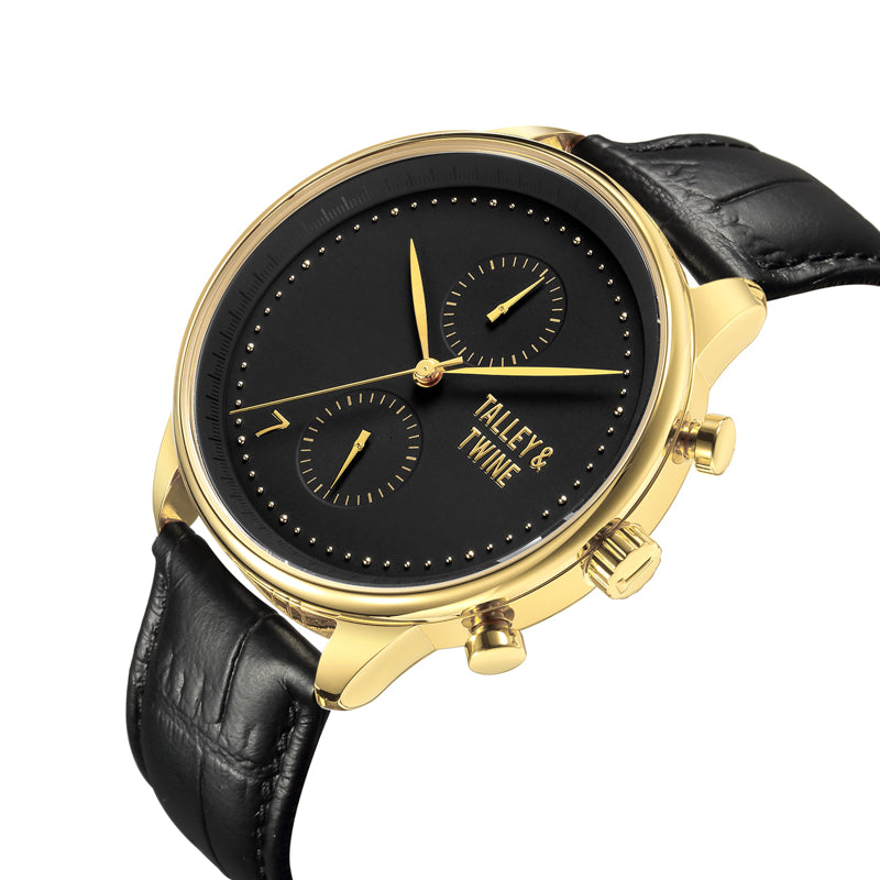 [46mm] Gold & Black Worley Chronograph - Black Leather