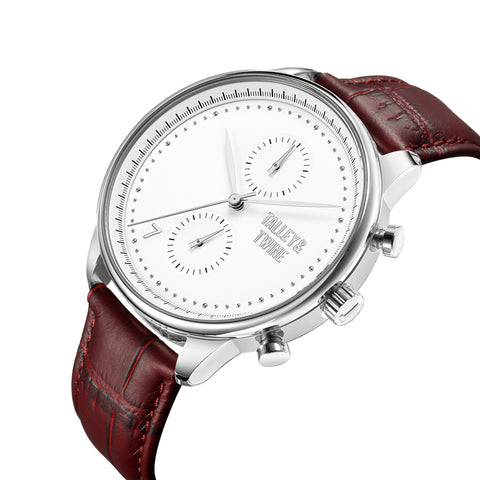 Silver & White Worley Chronograph - Oxblood Leather