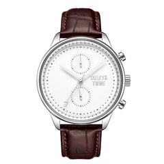Silver & White Worley Chronograph - Brown Leather