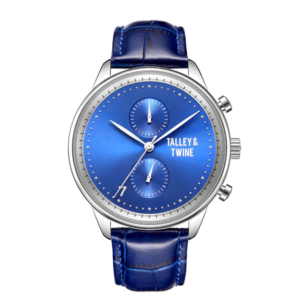 **PRE-ORDER! SHIPPING BY OCTOBER 15TH!** 46mm Men's Worley Chronograph Silver & Blue w/ Blue Leather Band