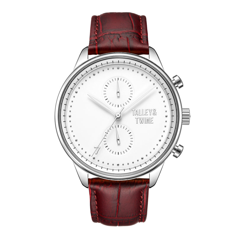 [46mm] Silver & White Worley Chronograph - Oxblood Leather