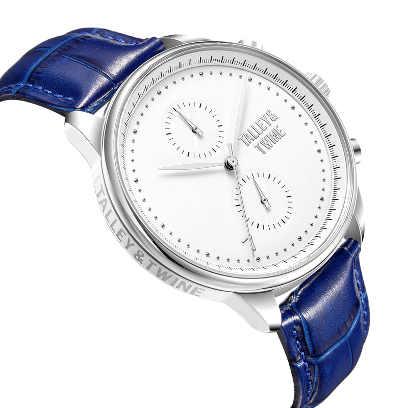 Silver & White Worley Chronograph - Blue Leather