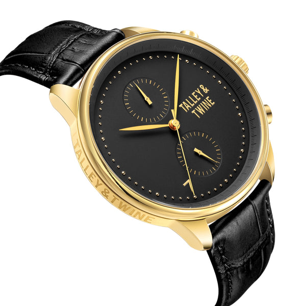 **PRE-ORDER! SHIPPING BY OCTOBER 15TH!** 46mm Men's Worley Chronograph Gold & Black w/ Black Leather Band