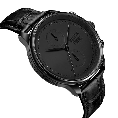 Black Worley Chronograph - Black Leather