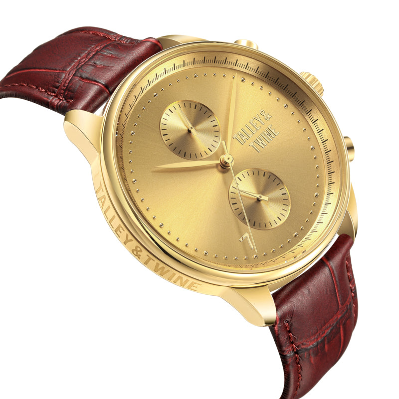 [46mm] Gold Worley Chronograph - Oxblood Leather