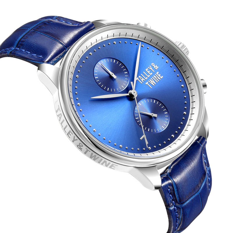 [46mm] Silver Worley Chronograph Blue Face - Blue Leather