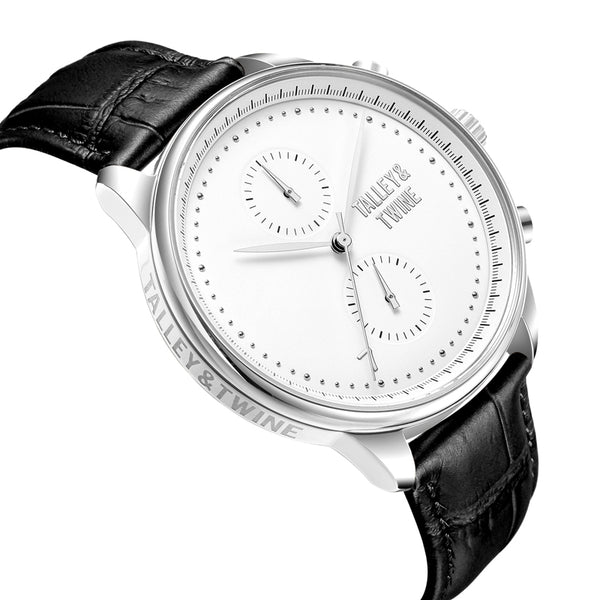 Silver & White Worley Chronograph - Black Leather