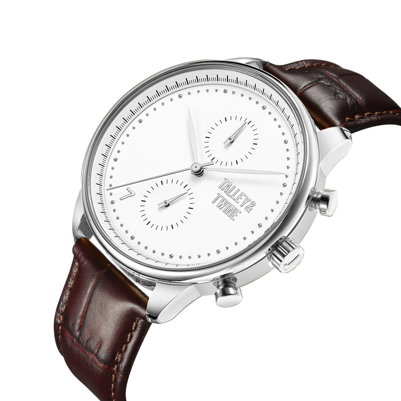 **PRE-ORDER! SHIPPING BY OCTOBER 15TH!** 46mm Men's Worley Chronograph Silver & White w/ Dark Brown Leather Band