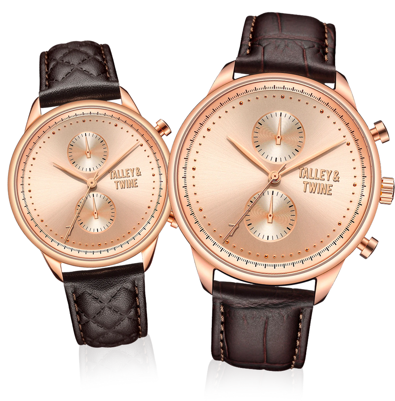 HIS & HER GIFT SET: 46mm + 41mm Worley Chronograph Rose Gold w/ Dark Brown Leather Band