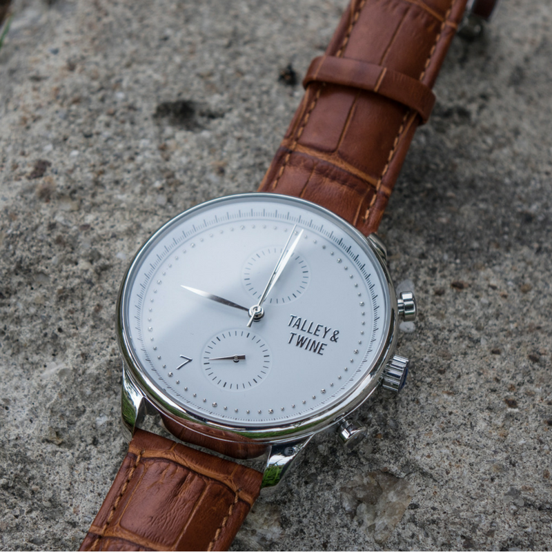 [46mm] Silver & White Worley Chronograph - Tan Leather