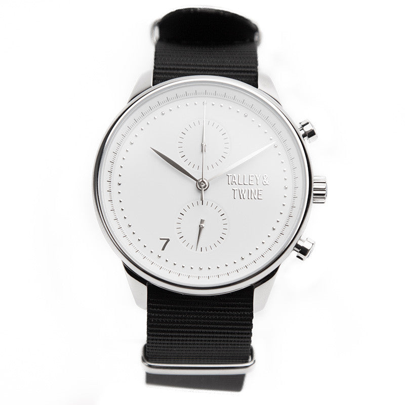 Silver & White Worley Chronograph - Black Canvas