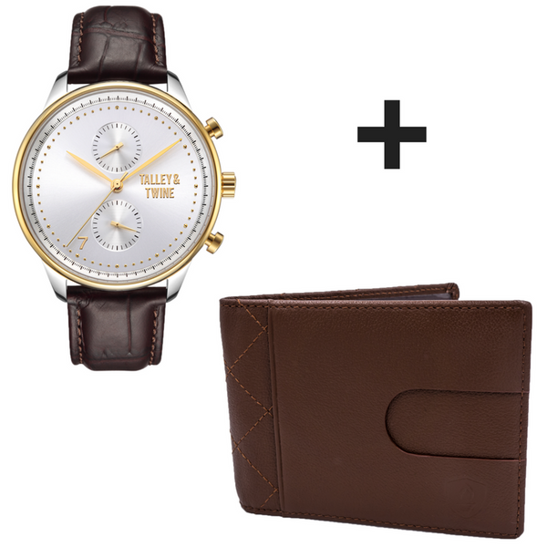 **PRE-ORDER & SAVE! SHIPPING BY JUNE 15TH!** 46mm Men's Worley Chronograph Silver & Gold w/ Dark Brown Leather Band + Brown Slim Wallet