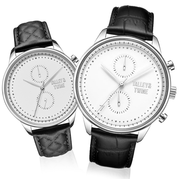HIS & HER GIFT SET: 46mm + 41mm Worley Chronograph Silver & White w/ Black Leather Band
