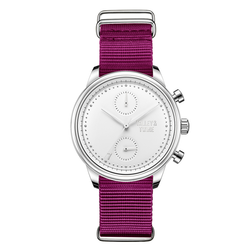[Women's 41mm] Silver & White Worley Chronograph - Plum Canvas