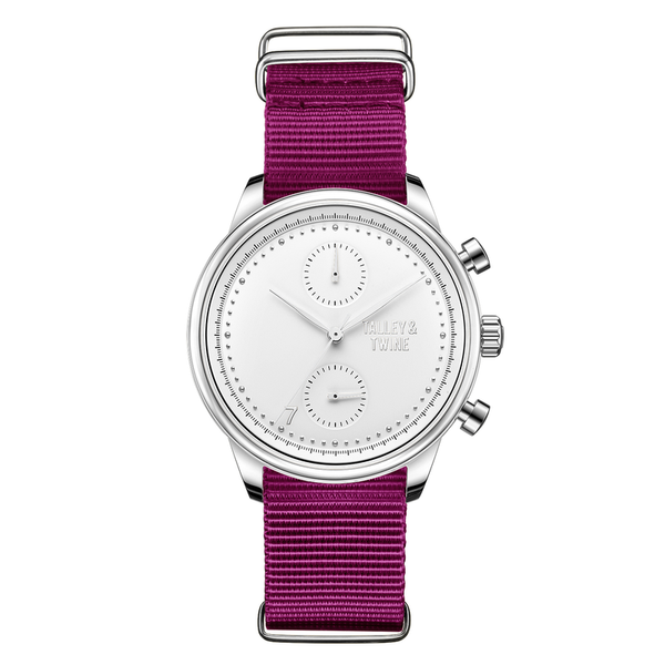[Women's 41mm] Silver & White Worley Chronograph M - Plum Canvas