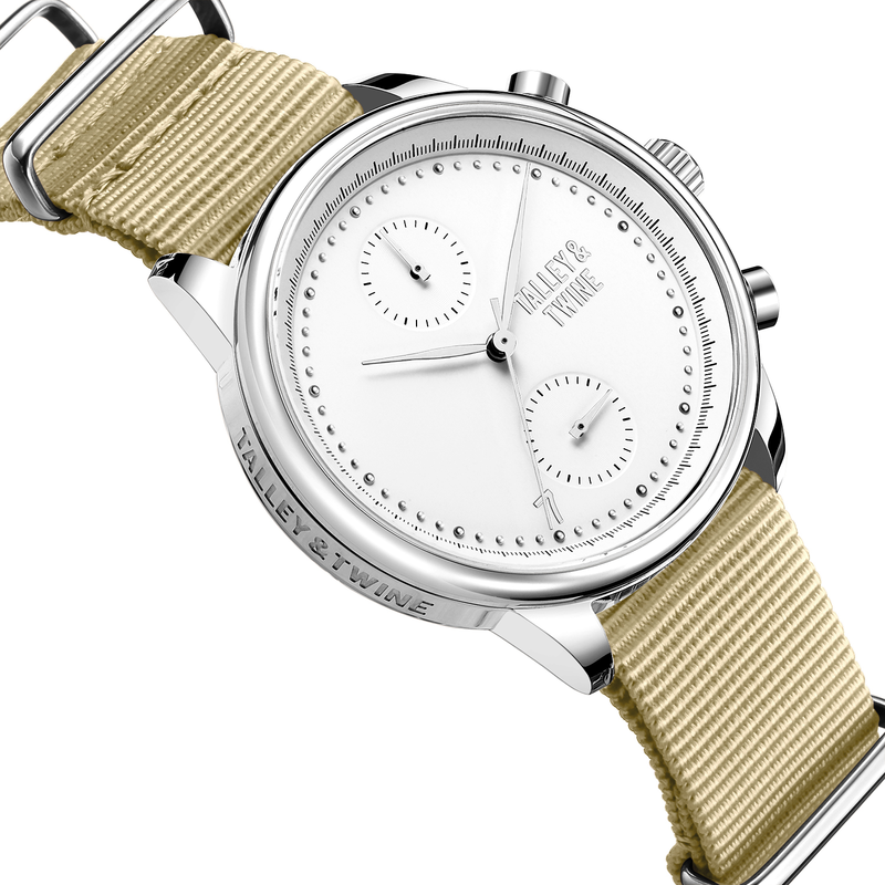 [Women's 41mm] Silver & White Worley Chronograph - Tan Canvas
