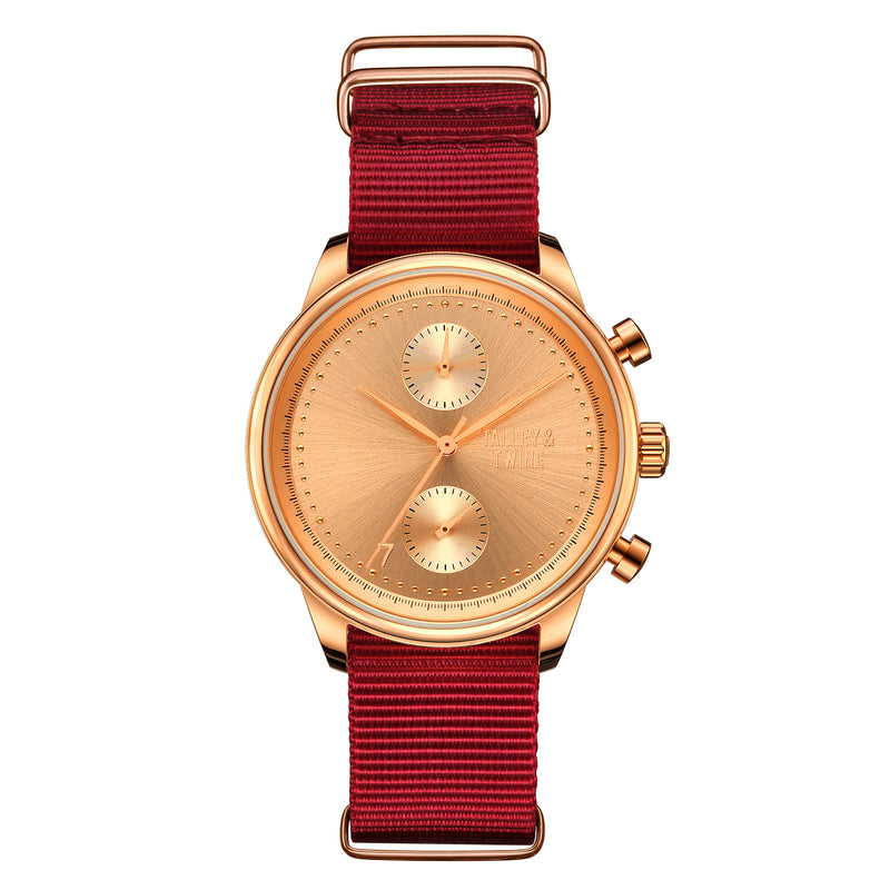 [Women's 41mm]  Rose Gold Worley Chronograph M - Red Canvas