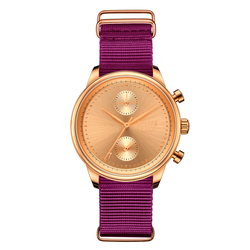 [Women's 41mm] Rose Gold Worley Chronograph - Plum Canvas