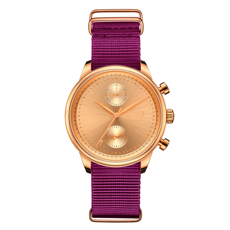[Women's 41mm] Rose Gold Worley Chronograph M - Plum Canvas
