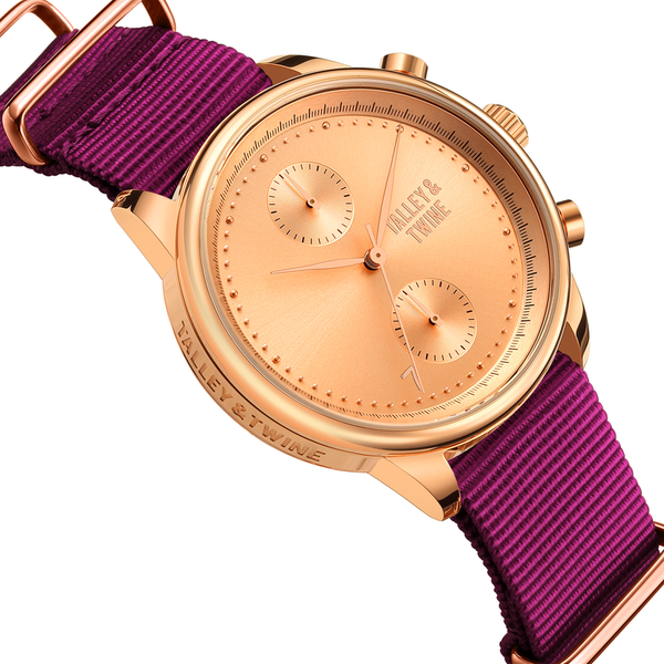 41mm Women's Worley Chronograph Rose Gold w/ Plum Canvas Band
