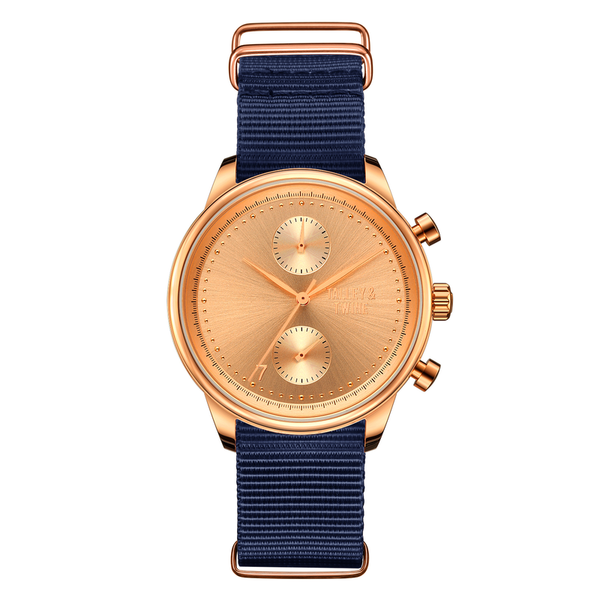 [Women's 41mm] Rose Gold Worley Chronograph - Navy Canvas