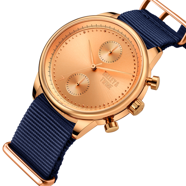 41mm Women's Worley Chronograph Rose Gold w/ Navy Canvas Band