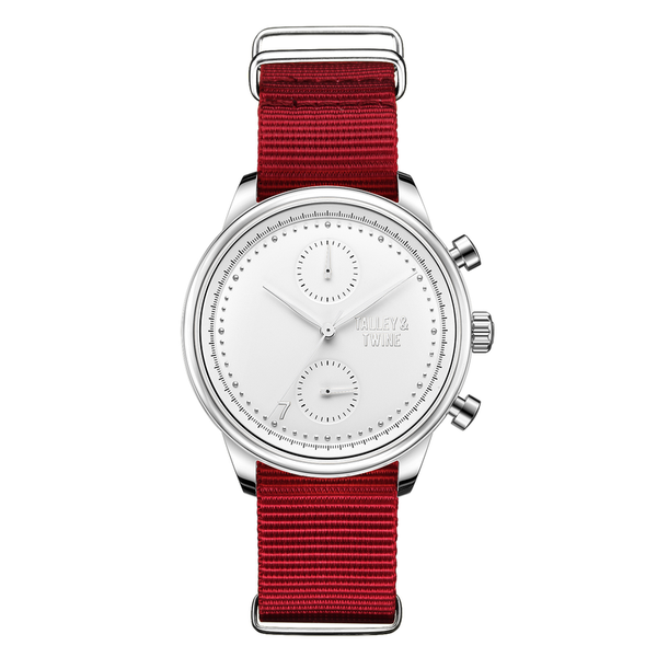 **PRE-ORDER! SHIPPING BY OCTOBER 15TH!** 41mm Women's Worley Chronograph Silver & White w/ Red Canvas Band
