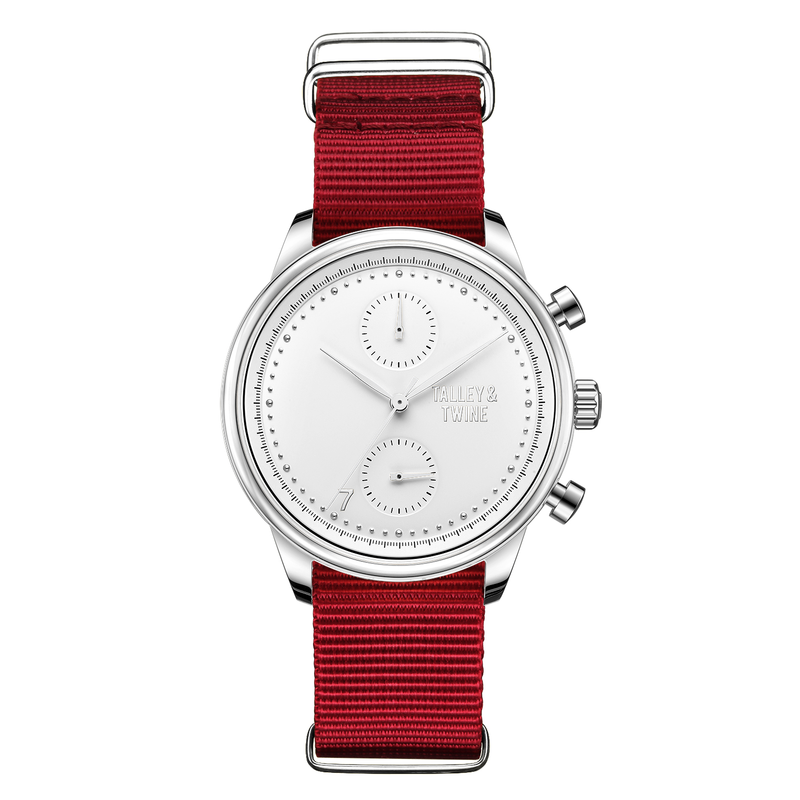 **PRE-ORDER & SAVE! SHIPPING BY JUNE 15TH!** 41mm Women's Worley Chronograph Silver & White w/ Red Canvas Band