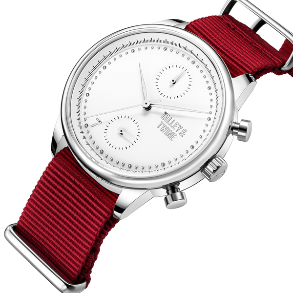 [Women's 41mm] Silver & White Worley Chronograph - Red Canvas